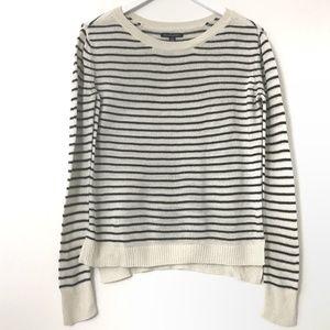 American Eagle Oversized Cream Blue Stripe Sweater